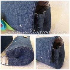 clutch made with a plastic bottle and old jeans