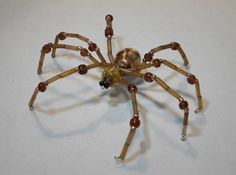 ~ Large Brown Beaded Spider ~ Great for Halloween Decor!