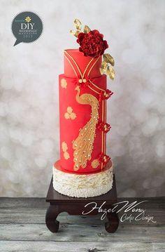 Red Wedding - with asian flair Chinese Cake, Japanese Cake, Chinese Party, Japanese Treats, Chinese Theme, Bird Cakes, Cupcake Cakes, Cupcakes, Fondant Cakes