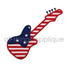 Guitar Flag Machine Embroidery Applique Design - 4th July Applique - INSTANT DOWNLOAD