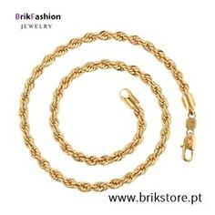 Colar banhado ouro 18k Gold Rings, Rose Gold, Bracelets, Jewelry, Copper Necklace, Gold, Necklaces, Bangle Bracelets, Jewellery Making