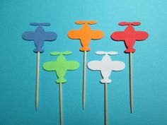 Airplane Party Picks / Set Of 24 / Great For Birthday Parties / 1 1/4""