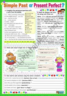 Simple Past or Present Perfect? - ESL worksheet by English Learning Spoken, Teaching English Grammar, English Grammar Worksheets, Grammar Lessons, English Words, English Lessons, Learn English, Simple Past Tense, Verb Forms