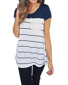 ed341a54da65d Women s Casual Crewneck Short Sleeve Color Block Striped Top Tunics Blouse  T-Shirts - Navy Blue - Clothing