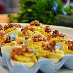 Spicy Jalapeno Bacon Deviled Eggs -- Use B & G Condiments to enhance ...