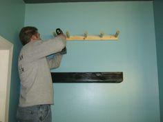 DIY Pallet Wood Floating Shelves - mounting the floating shelf base support