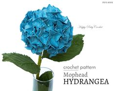 Inside youll find a crochet pattern for this elegant Mophead Hydrangea. This graceful beauty, with its showy large flowers, is a popular choice for wedding bouquets and is a wonderful indoor decorative piece. The crochet flower pattern includes diagrams, instructions (in American standard terms) and detailed step by step photo guides that will show you how to crochet and assemble this flower. ❀ Finished size: Following the instructions with the recommended material, youll get a ~2.4/6c...