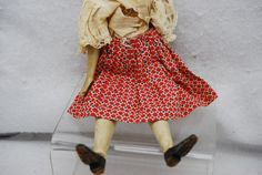 "10 5"" Vintage Wood Peg Doll with Moving Arms and Legs 