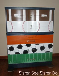 Sports Dresser by Sister See Sister Do, inspired by pinterest post.