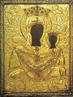 """The miraculous icon of Panagia Myrtidiotissa (""""of the Myrtle Tree""""), Kythera [Commemorated on September Myrtle Tree, Greek Icons, Images Of Mary, Hail Mary, Madonna And Child, Religious Icons, Orthodox Icons, Sacred Art, Greek Islands"""