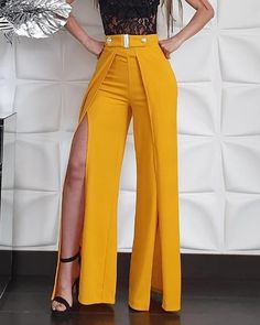 Style:Fashion Pattern Type:Solid Material:Polyester Length:Long Occasion:Casual Package Note: There might be difference according to manual measurement. Please check the measurement chart carefully before you buy the item. Trend Fashion, Fashion Pants, Fashion Dresses, Womens Fashion, High Fashion, Fashion Fashion, Elegantes Outfit Frau, Fashion Pattern, Bell Bottom Pants