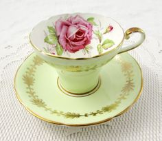 Green Aynsley Tea Cup and Saucer with Pink Rose, Cabbage Rose, Corset Shape, Vintage Bone China