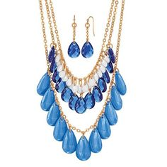 This necklace gives off the layered look and adds drama to any outfit.  Dress it up with a professional business attire or your favorite Sunday dress or let it be a show stopper with a beautiful sheer spring top and a pair of blue or white capri pants.  It would work with just about any outfit you dress it up with.  LOVE IT GET IT!!  TODAY!!  This set awaits you.  You know you want to, need to include it to your jewelry collection.  www.youravon.com/reewray