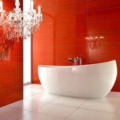 Bathroom Design With Red Colored Wall Tiles And Unique Shaped Bathtub