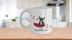 I #love #frenchbulldog #dog #mug #hearts #paws #animal