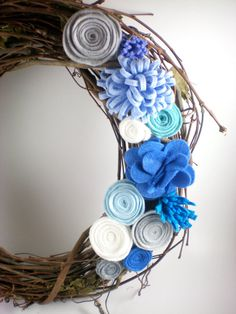 spring wreath, felt flower wreath