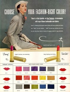 Coty lipsticks to harmonize with fashionable new fabrics, 1951.  Fashions by Lily Dache.  Model: Dovima.  Originally from myvintagevogue. | http://myvintagevogue.com/gal/index.php?level=picture=1993