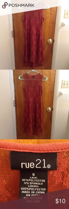 Burnt Orange/Red Lace Dress Beautiful lace dress. Rue 21 Dresses Mini