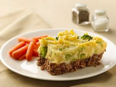 Potato-Topped Meat Loaf Casserole- although I would make it with ground turkey instead of beef and instead of broccoli I would sub in asparagus spears or green beans.