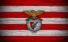 Download wallpapers Benfica, 4k, Portugal, Primeira Liga, soccer, wooden texture, Benfica FC, football club, logo, FC Benfica