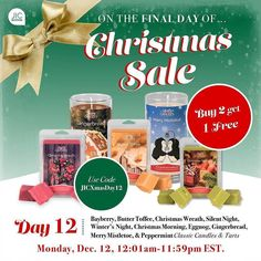 We've made it to the 12th day of Christmas! Buy 2 get 1 FREE on any of our Christmas scented classic candles and tarts! Which 3 will you choose? Bayberry Butter Toffee Christmas Wreath Silent Night Winter's Night Christmas Morning Eggnog Gingerbread Mistletoe or Peppermint.  jicbyjulie.com  #jicbyjulie #Christmas #12days #day12 #jicnation #Bayberry #Toffee #Wreath #SilentNight #Eggnog #Gingerbread #Mistletoe #Peppermint