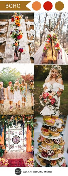 Bohemian wedding with Indian colours--every detail's bohemian chic!!