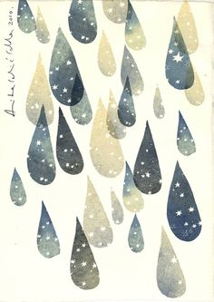 Graphic drops with stars- Cella Anita Celic Art And Illustration, Gravure Illustration, Illustrations Posters, Clouds And Rain, Textures Patterns, Print Patterns, Kunst Poster, Inspiration Art, Grafik Design