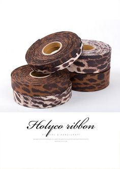 """Leopard Patterns Faux Leather Ribbon / 3/8""""(10mm), 1""""(25mm), 1.5""""(40mm) / made in Korea by HOLYCO on Etsy"""