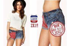 A pair of distressed denim shorts featuring a contrast bandana print. Zip fly with button closure. Four-pocket construction. Striped lining. Cuffed frayed hemline. Contrast top stitching. Belt loops. Stretch fit. Woven. Lightweight.  2X1 !!!  DON'T MISS THIS OPPORTUNITY.  ORIGINAL PRICE: $16.80 Wow Deals, Printed Denim, Bandana Print, Distressed Denim Shorts, Top Stitching, Hemline, Opportunity, Contrast, Construction