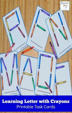 Learning Letters with Crayons Printable Task Cards - PintoPin Preschool Letters, Preschool Learning Activities, Kindergarten Literacy, Learning Letters, Preschool Classroom, Classroom Themes, Preschool Ideas, Alphabet Letters, Preschool Crafts