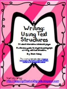 Learning to write using the text structures is a great way to help students recognize the structures in text they read. This is a set of interacti. Learning To Write, Teaching Writing, Writing Practice, Teaching Resources, Teaching Ideas, Interactive Writing Notebook, Interactive Journals, Writing Workshop, Text Structures