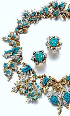 Jean Schlumberger for Tiffany - Magnificent Persian Turquoise and Diamond Necklace and matching a ear Clips.