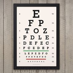 Classic Snellen Vintage Look Eye Chart This print is our rendition of the eye chart developed by Dutch ophthalmologist Herman Snellen in 1862. The solid black background and off-white lettering gives this print a great vintage look. Printed using archival inks on thick fine art (100%