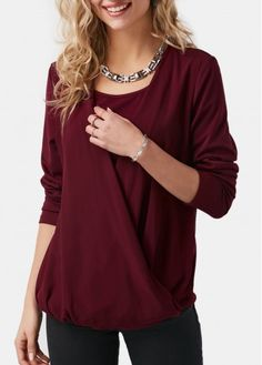 Wine Red Surplice Front Long Sleeve Blouse on sale only US$29.58 now, buy cheap Wine Red Surplice Front Long Sleeve Blouse at Rosewe.com