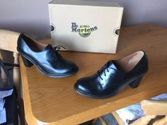 Dr Martens Jinelle black leather high heel shoes UK 8 EU 42  #DrMartens #Laceup #Casual