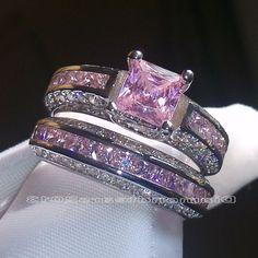SZ 6-10 Brand Princess cut 10kt white gold filled pink sapphire wedding Ring set  #Diamondtears2013   #Ring