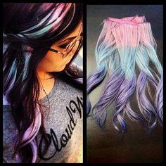 dye, cotton candy, dark hair, colored hair, hair clips, colorful hair, black hair, longer hair, pastel hair