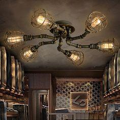 Goedkope Amerikaanse retro stijl industriële loft plafondlamp creatieve persoonlijkheid ijzer waterpipes Restaurant bar woonkamer plafondlamp, koop Kwaliteit plafondverlichting rechtstreeks van Leveranciers van China: