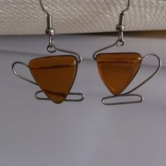Amber earrings Amber color stone with silver wire- Shape of a coffee cup! Accessories