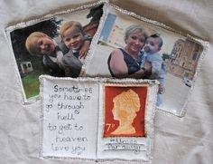 "Custom Made Fabric Postcards.  Size 8"" x 6""  By Habercraftey - come follow me on facebook - www.facebook.com/habercraftey"