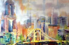This large 24x36 abstract oil painting on canvas depicts the Andy Warhol Bridge in Pittsburgh. PA. I took a photo of it when I visited the Warhol Museum last summer and fell in love with the lines and color of the structure. Spanning the river, the bridge has a fascinating skyline backdrop. The breathtaking image will command attention wherever its hung in your home or office. It would make a lovely focal point in a reception area or large foyer.  The painting is signed front and back and is…
