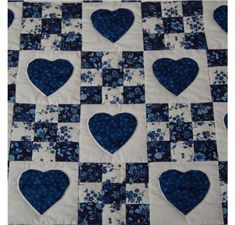 Amish Quilts - Handmade Patchwork Quilt For Sale in Blue and White                                                                                                                                                                                 More