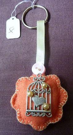 Handmade Keyring Bag Charm Felt Birdcage Design Coral Lemon Beaded (StockID4). £2.50, via Etsy.