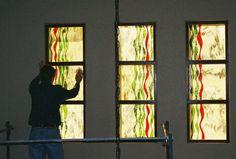 Custom fused glass windows for Reno, NV home.  Linda Crouch