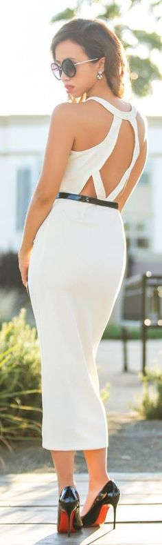#summer ##backless #outfits | White Body-Con Backless Midi Dress