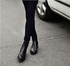 ladies fashion biker style round toe black ankle chelsea boots - booties