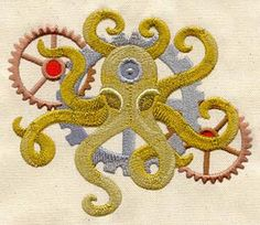 ♒ Enchanting Embroidery ♒ embroidered Steampunk Octopus embroidery motif from Urban Threads.