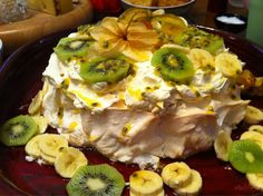 kiwi, banana and passionfruit pavlova