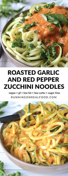These healthy, vegan roasted garlic and roasted red pepper zoodles are low in carbs and fat with 12 grams of protein per serving. You can enjoy your zucchini noodles or raw or cook them up if you prefer! Easy to make, keeps well, very low calorie alternat