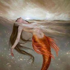 Is she asleep or has she drowned? Can mermaids drown? Fantasy Creatures, Mythical Creatures, Sea Creatures, Fantasy Images, Fantasy Art, Mermaid Man, Ange Demon, Mermaids And Mermen, Merfolk